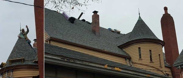 Architectural Shingle on Turret Roof in Boston, MA (1)