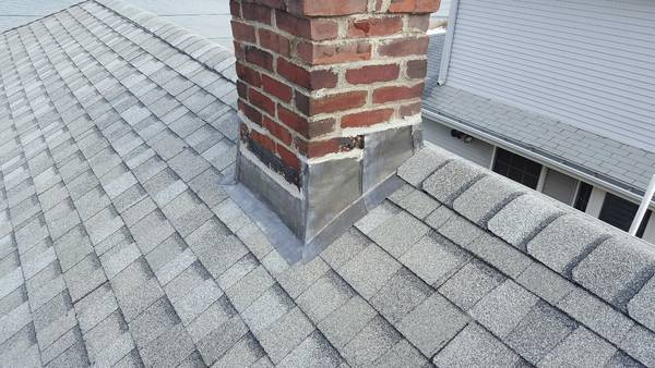 Architectural Shingle Roof with New Chimney Flashing in Revere, MA (1)